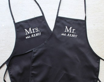 Mrs./Mr. Aprons w/Pockets, Wedding Gift, Embroidered (Black)