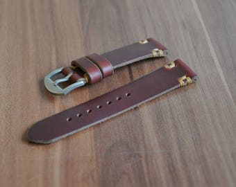 Handmade watch strap produced from high quality Horween chromexcel leather of Tan color, 18mm, 20mm, 22mm, 24mm
