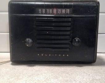Vintage Tele Tone Model 145 Portable Radio 1947, Antique Radio for Restoration, Decor