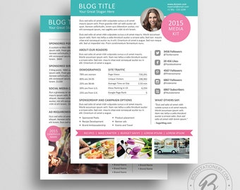 Blog Media Kit Template 01 - Ad Rate Sheet Template - Press Kit - Pitch kit