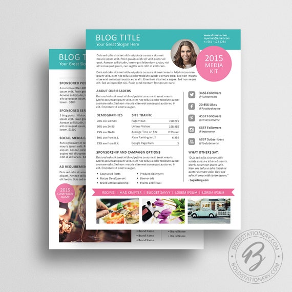 Blog Media Kit Template 01 Ad Rate Sheet Template Press