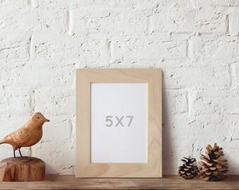 5x7 Picture Frame, Natural Wood Frame, Wedding Table Display, Nursery Decor, Printable Art frame, Beach Home Decor, 5x7 Standing Frame,