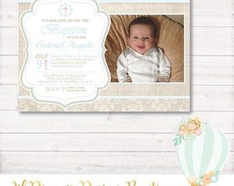 Baptism Invitation, burlap baptism invitation, light plue, christening, communion, photo invitation, baby, printable, digital, pdf, jpeg