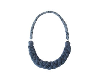 Blue Bib Necklace, Fabric Necklace, Braided Fabric Necklace, Summer Necklace, Tshirt Yarn Necklace, Statement Necklace, Recycled Tshirt
