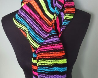 Handmade Knitted Neon Stripes Scarf