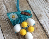A Beautiful Morning - Sparkly Confetti Lucite Style Brooch With Fried Egg, Bacon, and Farm Fresh Eggs. Rise and Shine!