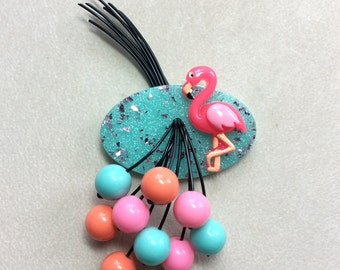 Flamingo Brooch - Confetti Lucite Style Brooch with Happy Little Flamingo, Pink and Aqua / Seafoam Green Confetti, and Tropical Berries!
