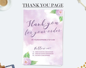 Marketing kit, thank you for your order cards, purchase cards, custom thank you cards, business cards, printable cards, watercolor cards