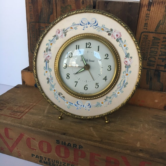 Vintage Alarm Clock Saks Fifth Avenue Hand-Painted Floral Face