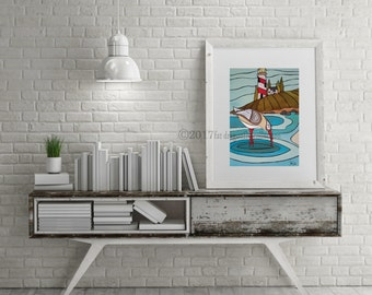Sandpiper Water Bird and Lighthouse art print. Sandpiper and lighthouse poster. Nautical bird print. Coastal Print. Nautical art. Bird decor