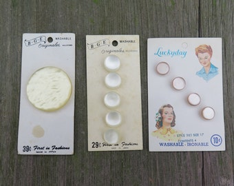 Vintage Button Card, Sewing Buttons, Replacement Buttons, Craft Supply, Retro, Collection, Yellow, Cream, Soft Pink, Luckyday, BGE