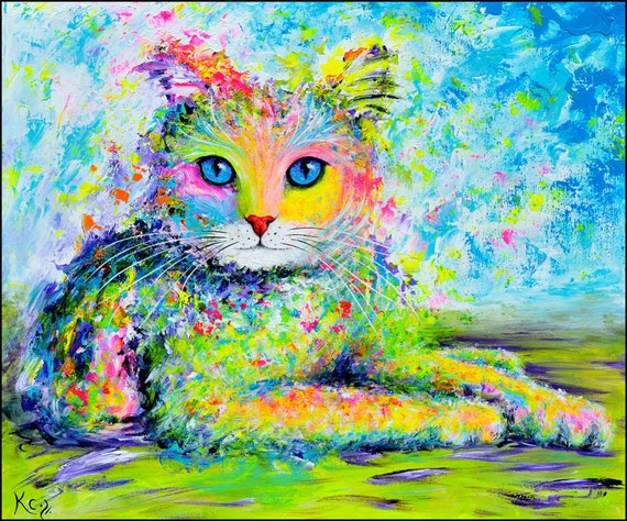 Cat Art Print entitled Sunshine Kitty. Colorful Cat Portrait. Cat Artwork. Cat Art Prints. Cat Portrait. Cat Print. Cat Owner Gift.