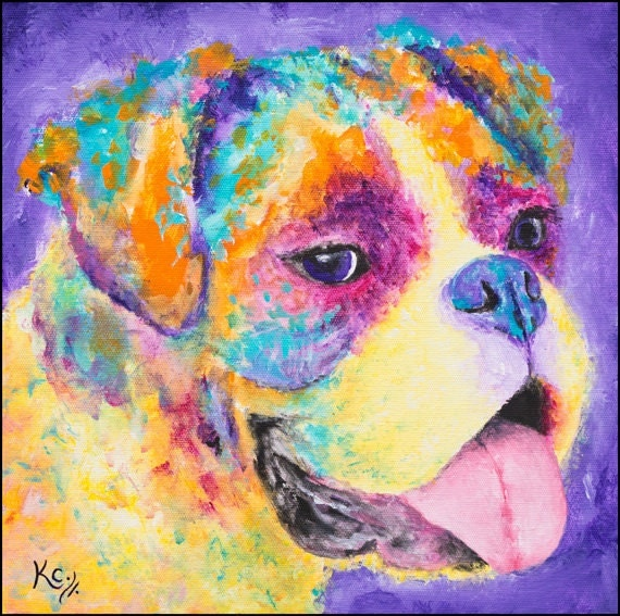 Boxer Dog Art Print of a Boxer Painting. Colorful Puppy Dog Art. Boxer Portrait. Artwork of Dogs. FREE SHIPPING!