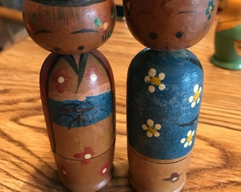 Vintage Pair of Japanese Nodding Head Nesting Dolls