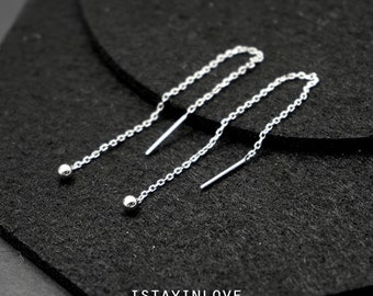 Sterling Silver Geometry Threader Earring | Geometry Jewelry I Personalized Gift