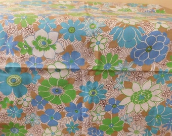 Vintage Fabric 1960s 1970s Retro Floral Fabric Blue Green Brown Turquoise Floral Print