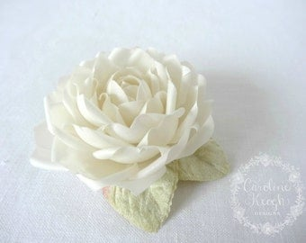 Ivory Pure Silk Rose Hair Clip Corsage