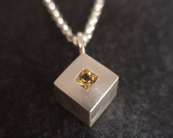 Yellow Sapphire Sterling Silver Square Pendant and Chain