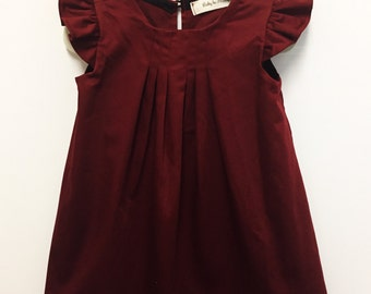 Burgundy dress, Burgundy baby dress, Burgundy toddler dress, red dress, berry dress, Easter Dress, Burgundy girls dress, flutter sleeve dres
