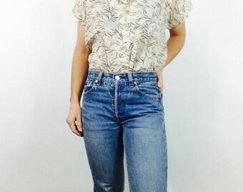 Vintage floral shirt womans sheer blouse shirt size s button up shirt sheer shirt floral button up summer shirt oversized shirt 90s blouse L