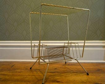 Mid Century Atomic Gold Wire Record Stand