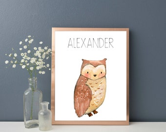 Woodland Animals, Woodland Nursery Decor, Personalised Name Print, Owl Nursery Decor, Owl Print, Owl Nursery Wall Art , Baby Room Wall Art
