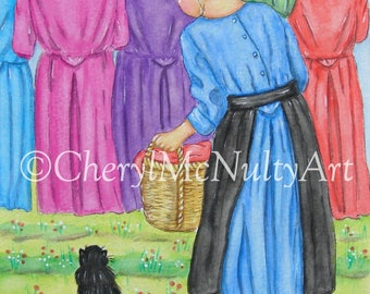 Wash Day Amish Print of Watercolor Painting Simple Living Amish Life Amish Girl Laundry Clothesline With Cat Wall Decor