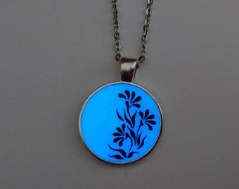 Blue Glowing Flower Necklace - Glowing Jewelry - Glow in the Dark Pendant - Gifts for Her - Hand painted - Birthday - Christmas Gift