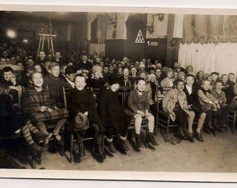 Orphanage Germany kids, boys smiling children poor Vintage Real Photo Postcard Photography, Paper Ephemera, Antique, RPPC