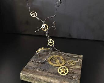 Business card holder-Steampunk-Sculpture-Engineer-upccycled-wire-tree-sculpture-Country-Rustic-Art
