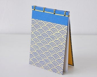 Small Japanese Notebook, hand bound, Chiyogami paper, waves, blue, gold, stab binding - Journal, Diary, Sketchbook, Travel Book