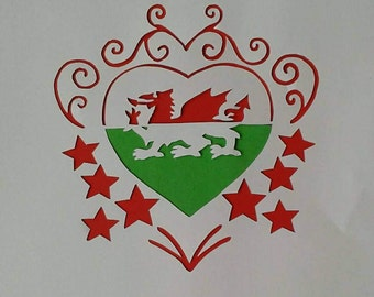 Welsh Heart Papercutting Template| Commercial Licence|Instant download | Wales, Welsh Dragon