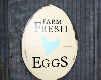 "Wooden Farm Painted Sign ""Farm Fresh Eggs"" Farmhouse Decor"