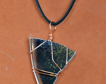 Black Pendant Necklace, Repurposed Porcelain, Copper Wire Wrapped, Jewelry, Handmade, Geometric, Gift, Artisan, Triangle    Caldwell Pottery