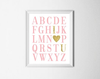 ABC Print Gold And Pink Alphabet Print Pink And Gold Nursery Decor Baby Girl Nursery Print Pink Gold Nursery Wall Art Pink Gold ABC