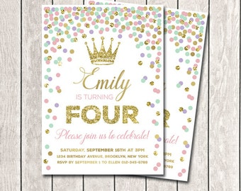Princess Birthday Invitation Girl Birthday Invitation Pink Mint Purple Gold Confetti Invitation Any Age Printable Invitations 1st Birthday