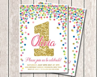 1st Birthday Invitation Girl Birthday Invitation Rainbow Confetti Invitation Printable First Birthday Invite Any Age Colorful And Gold