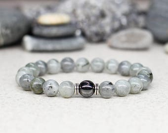 Men bracelet men birthday gift-for-him Unisex bracelet Healing crystal and stone jewelry Labradorite bracelet Simple bracelet Bead bracelet