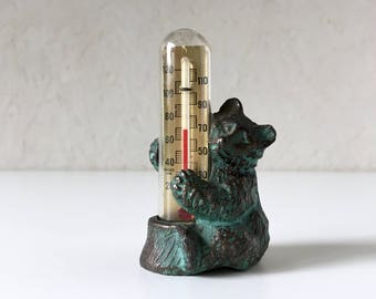 Bear Thermometer, Vintage Mercury Thermometer, Mercury-in-Glass, Cast Iron Bear