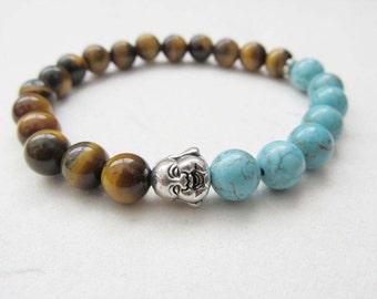 Buddha bracelet, yoga bracelet, tiger eye bracelet, gemstone jewelry