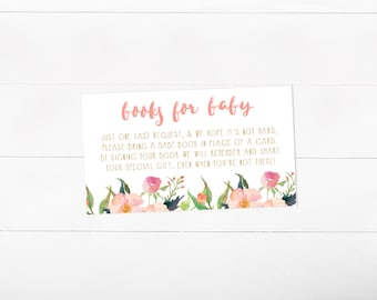 Bring a Book Card, Stock the Library, Books for Baby, Girl Baby Shower, Watercolor (576)