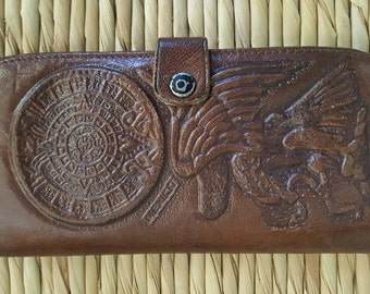 Vintage Hand Tooled Mexican Leather Wallet with Aztec Calendar, Aztec God, and Mayan Pyramid