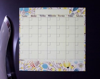 Dry Erase Calendar, Spring Flowers Blooming Calendar, with Larger Day Boxes and Notes Section