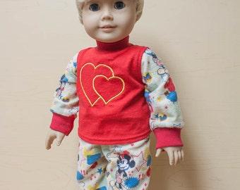18 inch boy doll pajamas / boy doll valentine pajamas / boy doll pjs / American boy doll pajamas / flannel doll pjs / flannel pajamas
