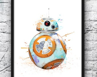 Star Wars Watercolor Print, BB8 Poster, The Force Awakens Poster, Movie Poster, Droid Poster, Kids Room Decor, Wall Art, Nursery Decor - 533