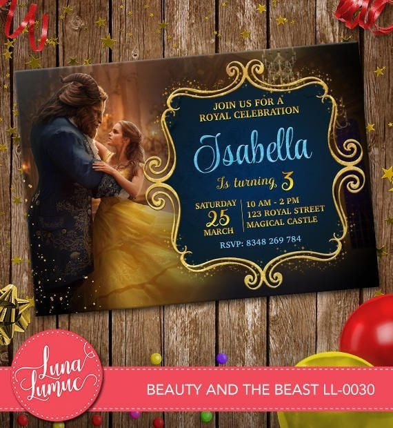 Beauty and the Beast Movie Birthday Party Printable Invitations