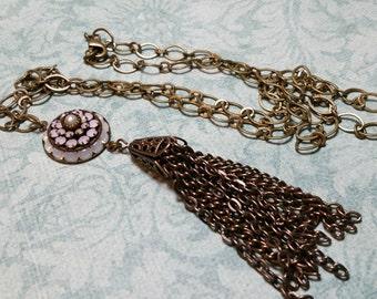 Long Tassel Necklace, Layering Necklace, Tassel Necklace, Boho Gifts, Bohemian Necklace, Rosewater Opal Swarovski Crystal, Vintage Style