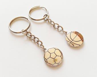 FOOTBALL Keychain Basketball Keychain Football Charm Basketball Charm Sport Keychain Football Gift Basketball Gift Football Keyring Sport