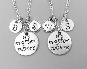 Best friend necklace, no matter where neckalce, personalized necklace, bff necklace, no matter where charm necklace, initial necklaces, gift