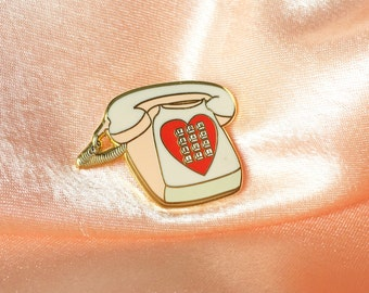 "Vintage Love Motel Telephone 1.25"" Enamel Lapel Pin"